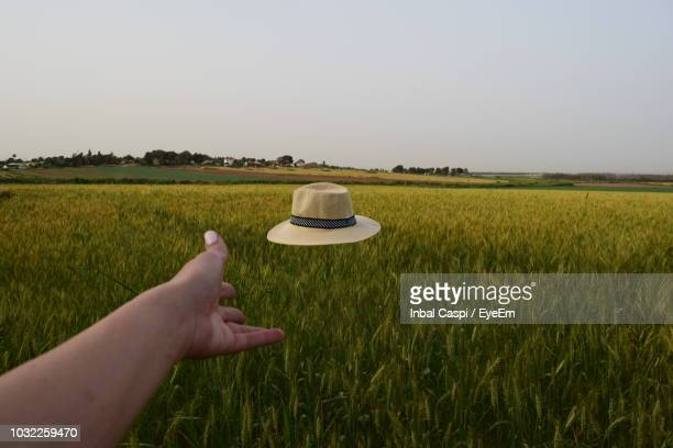 cropped hand of woman throwing hat on agricultural field against sky - throwing stock pictures, royalty-free photos & images