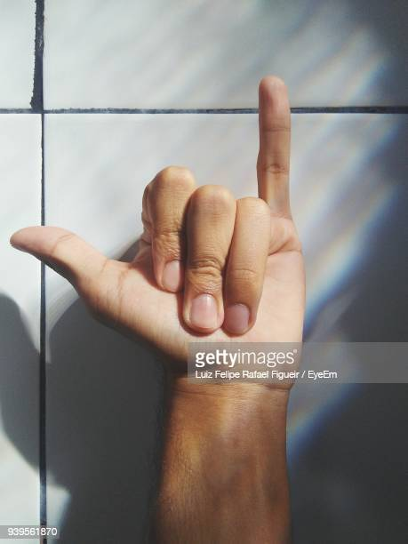 Cropped Hand Showing Shaka Sign By Wall