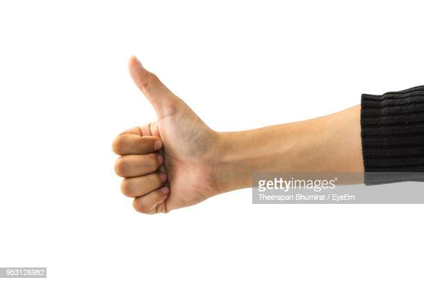 cropped hand showing thumbs up - sleeve stock pictures, royalty-free photos & images