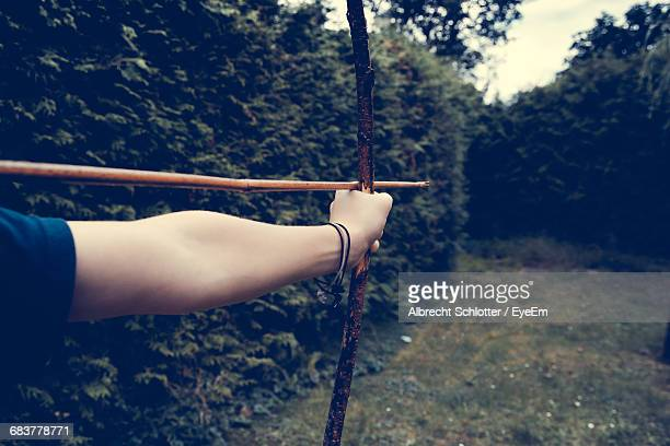 Cropped Hand Using Bow And Arrow