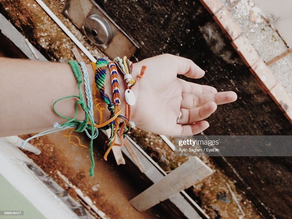Cropped Hand With Fashionable Bracelets : Stock Photo