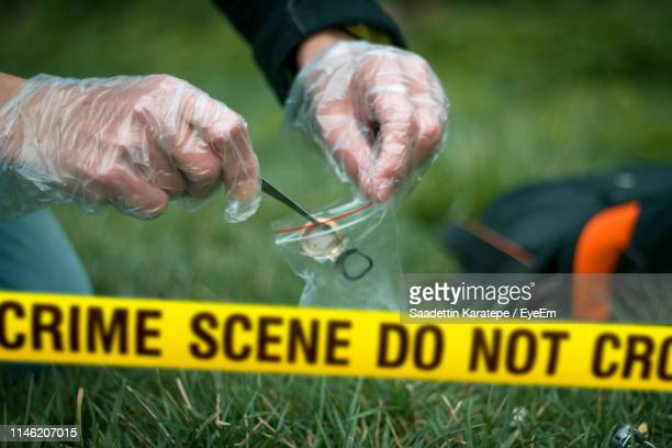 cropped hands collecting evidence at crime scene - murder stock pictures, royalty-free photos & images