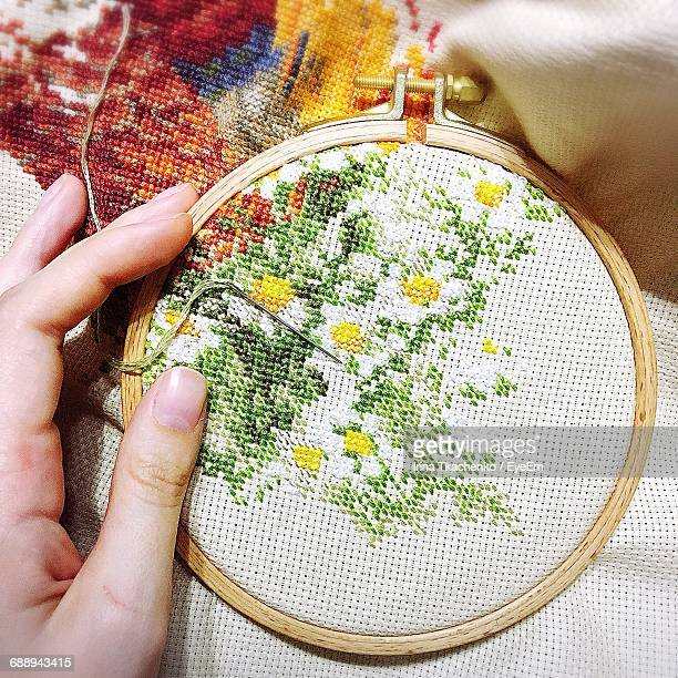 Cropped Hands Doing Cross-Stitch