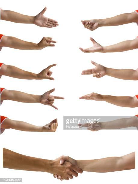 cropped hands gesturing against white background - gesticular fotografías e imágenes de stock