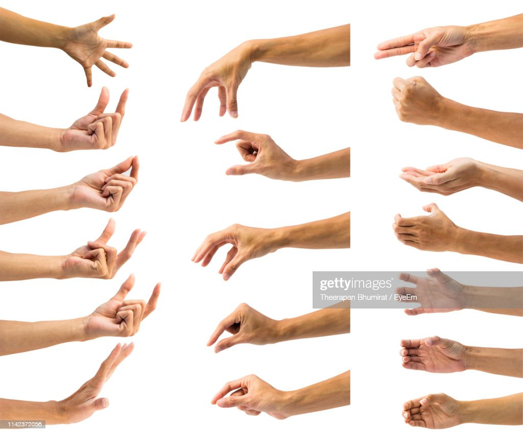Cropped Hands Gesturing Against White Background : Stockfoto