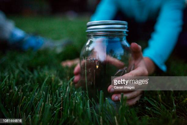 cropped hands of boy holding glass jar with firefly on grassy field - cavan images foto e immagini stock