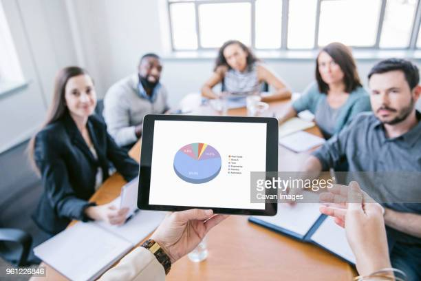 cropped hands of businesswoman explaining data from tablet computer to colleagues in meeting - personal perspective stock pictures, royalty-free photos & images