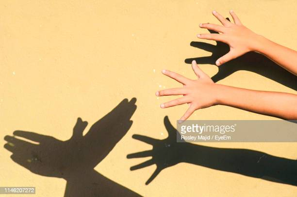 cropped hands of child gesturing against wall during sunny day - ombra in primo piano foto e immagini stock