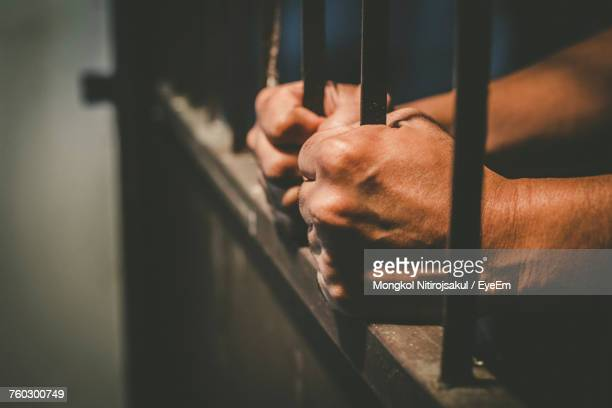 cropped hands of male prisoner holding prison bars - crimine foto e immagini stock
