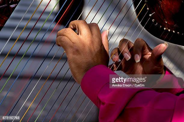 Cropped Hands Of Man Playing Harp