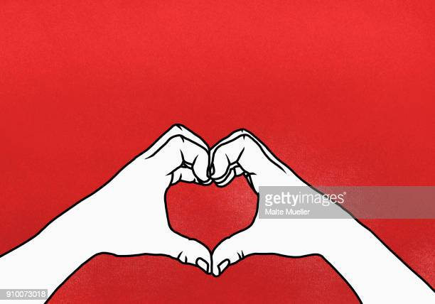 cropped hands of person making heart shape against red background - illustration stock-fotos und bilder
