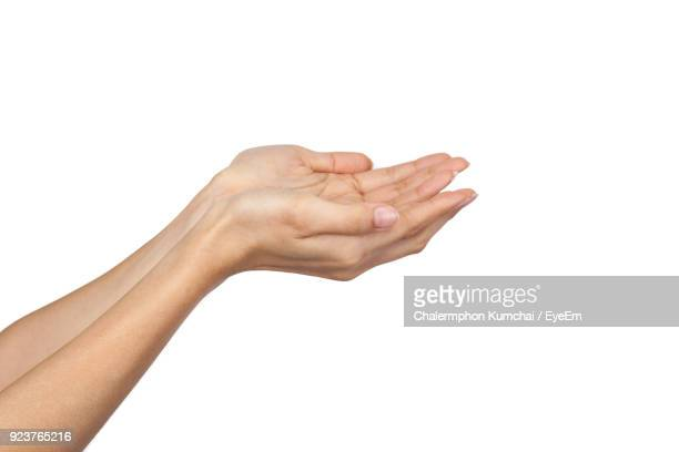 Cropped Hands Of Woman Over White Background