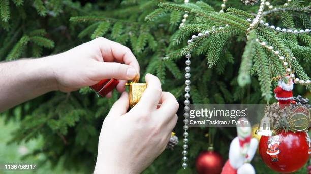 Cropped Hands Putting Ornaments On Christmas Tree