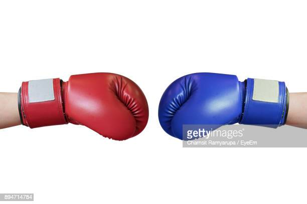 cropped hands wearing boxing gloves over white background - menselijk lichaamsdeel stockfoto's en -beelden