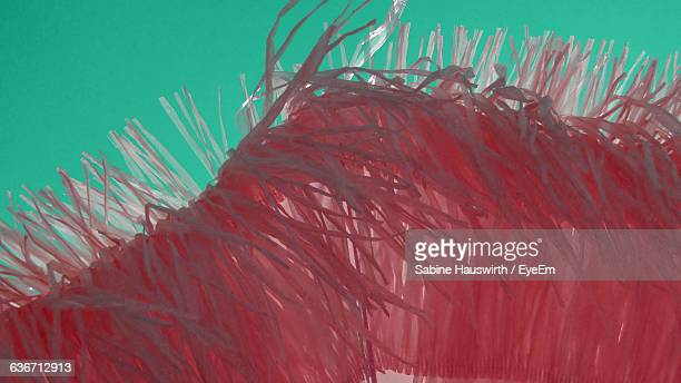cropped image of artificial pink plastic feather against colored background - sabine hauswirth stock photos and pictures