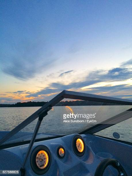 cropped image of boat in sea against sky - st. albans stock pictures, royalty-free photos & images