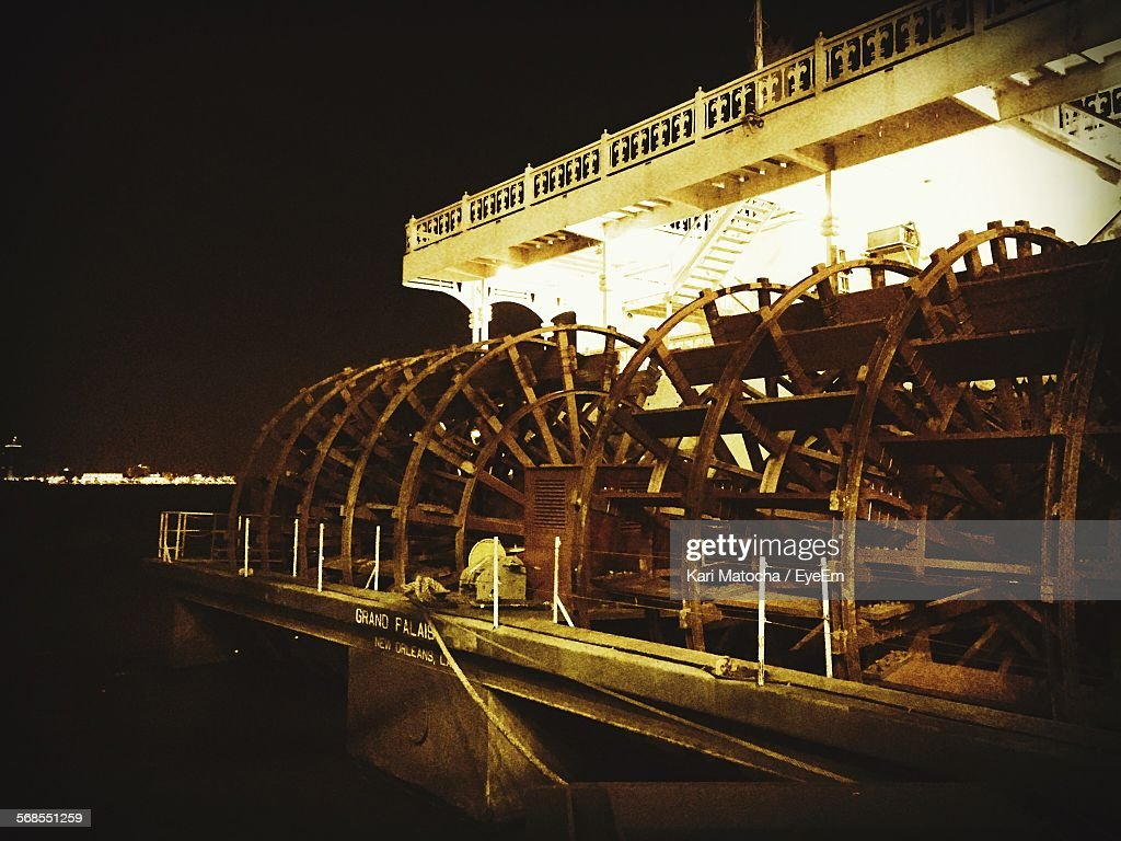 Cropped Image Of Boat On Sea At Night : Stock Photo