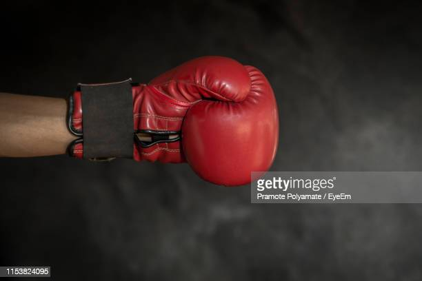 cropped image of boxer wearing red glove - boxing glove stock pictures, royalty-free photos & images