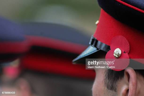 cropped image of british army soldier wearing cap - british military stock pictures, royalty-free photos & images