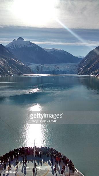 cropped image of cruise ship in sea - schiffsbug stock-fotos und bilder