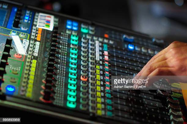 Cropped Image Of Dj Working On Sound Mixer