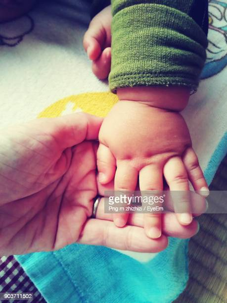 Cropped Image Of Father And Baby Holding Hands On Bed