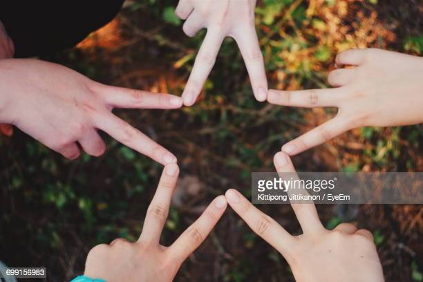 Cropped Image Of Friends Making Star Shape With Fingers