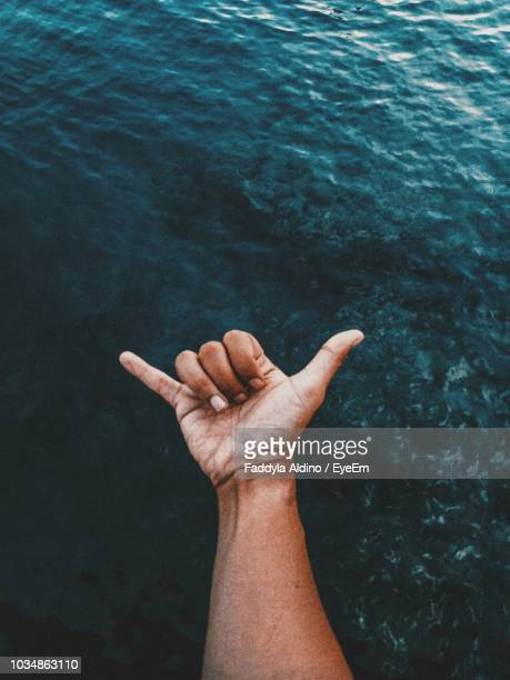Cropped Image Of Hand Gesturing Shaka Sign Against Sea