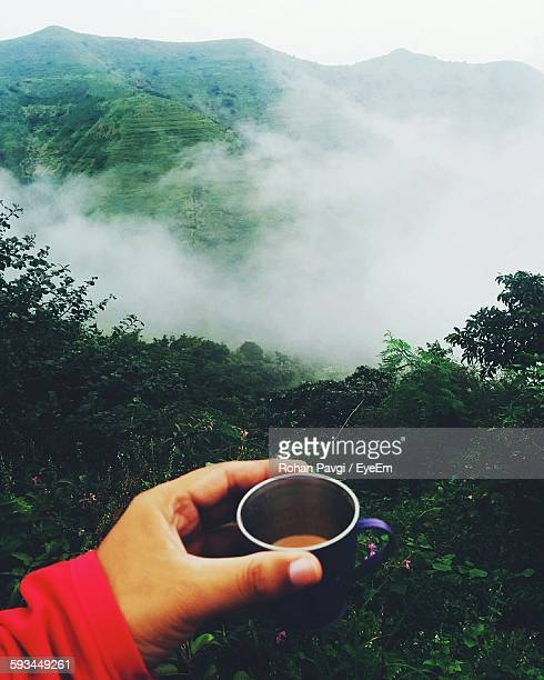 Cropped Image Of Hand Holding Tea Cup Against Mountain During Foggy Morning