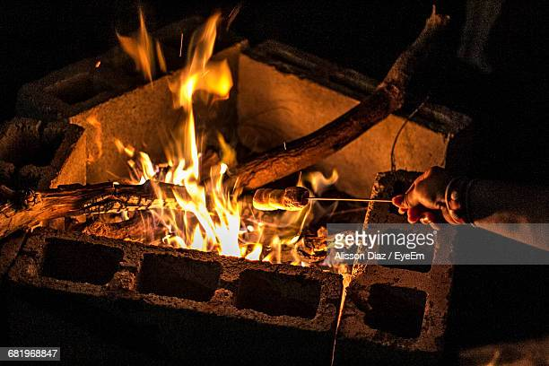 cropped image of hand roasting marshmallows on campfire at night - alisson stock pictures, royalty-free photos & images