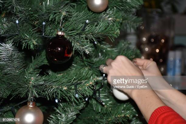 Cropped Image Of Hands Decorating Christmas Tree