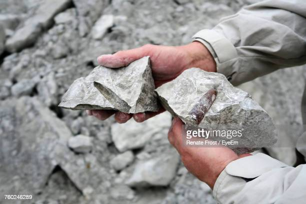 Cropped Image Of Hands Holding Chalk Rocks With Belemnite Fossil