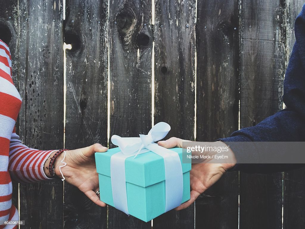 Cropped Image Of Hands Holding Gift Box Against Wooden Fence : Stock-Foto