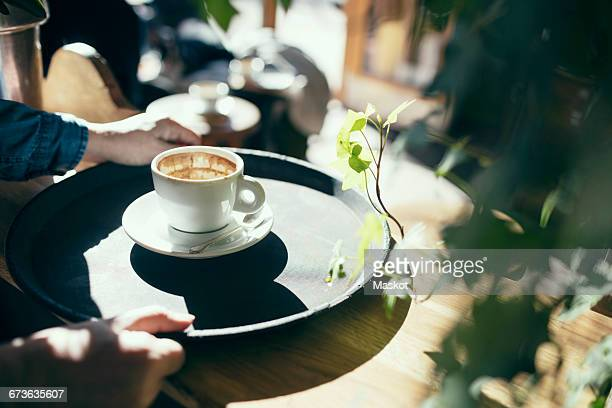 Cropped image of hands holding serving tray with coffee cup in cafe
