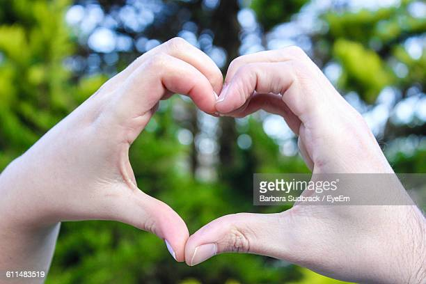 Cropped Image Of Hands Making Heart Shape Against Trees