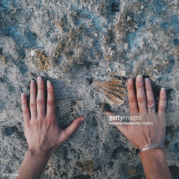 Cropped Image Of Hands Touching Rock