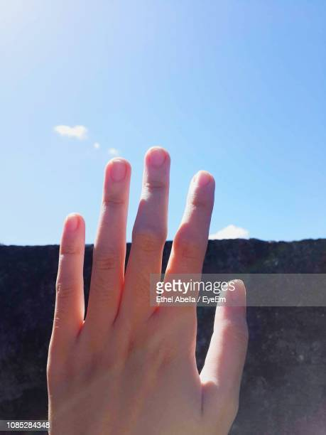 Cropped Image Of Human Hand Against Sky
