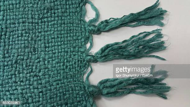 Cropped Image Of Knitted Fabric On White Background