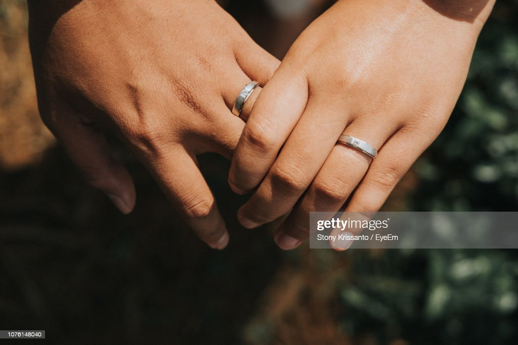 Cropped Image Of Lesbian Couple Wearing Rings : Stock Photo