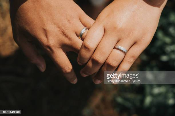 cropped image of lesbian couple wearing rings - lesbian stock pictures, royalty-free photos & images