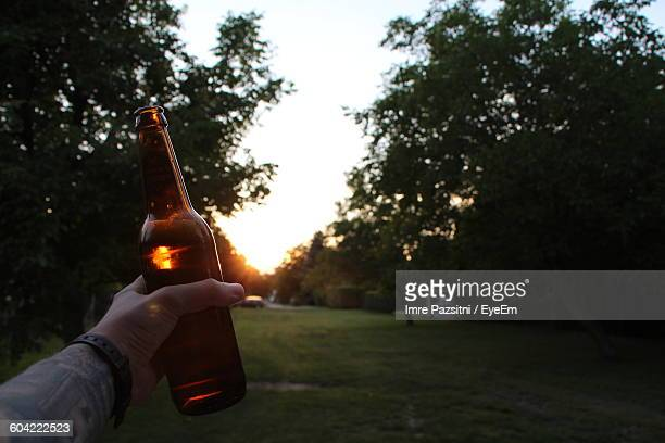 Cropped Image Of Man Hand Holding Beer Bottle On Field Against Sky