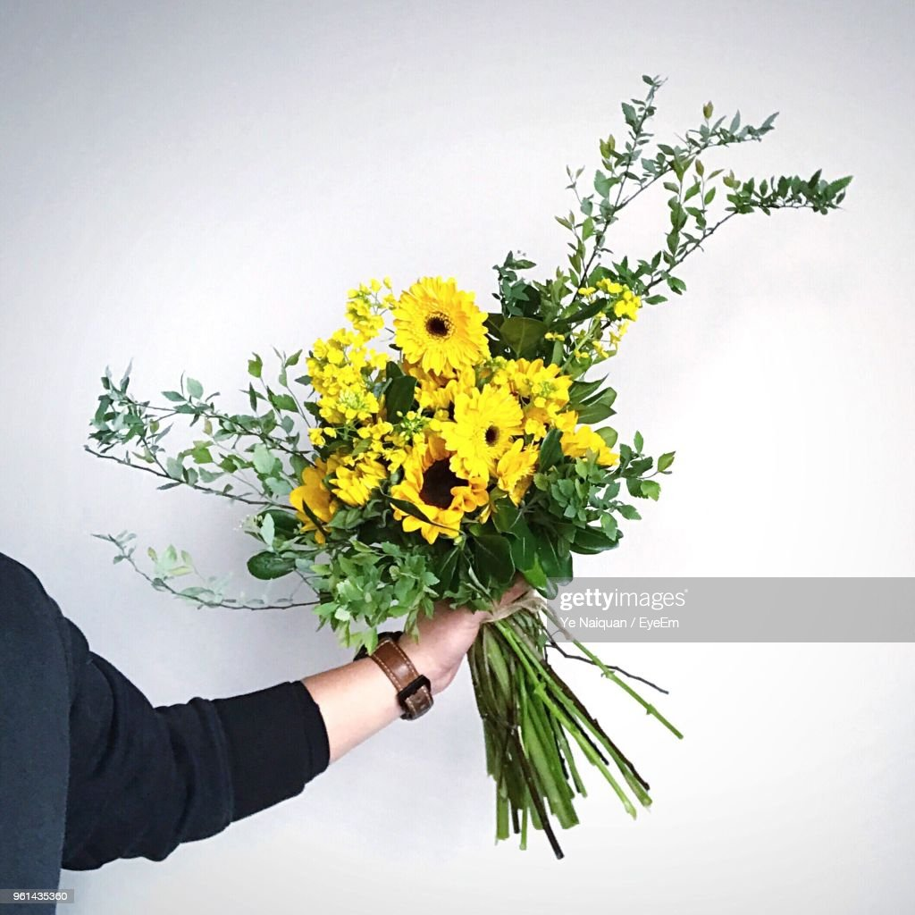 Cropped Image Of Man Holding Flower Bouquet Against White Background