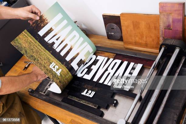 Cropped image of man printing text on poster