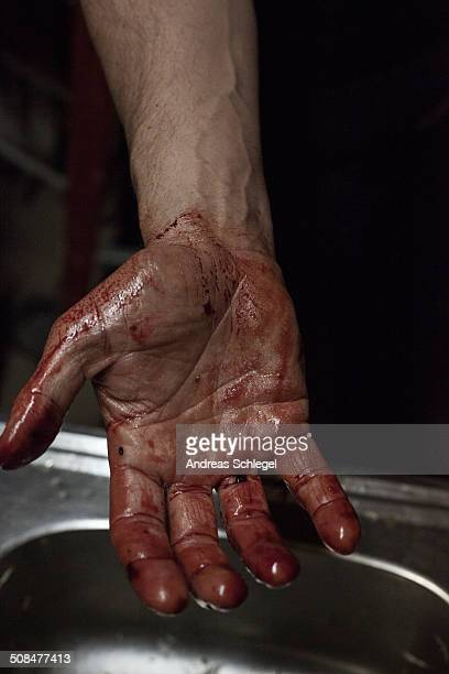 cropped image of man showing blood stained palm - blood in sink stock pictures, royalty-free photos & images