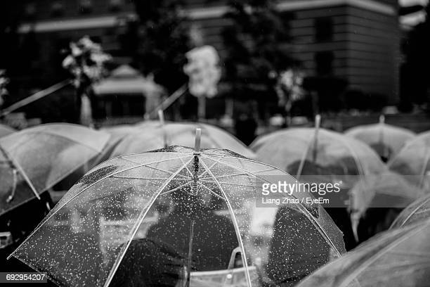 Cropped Image Of People Carrying Umbrellas During Monsoon