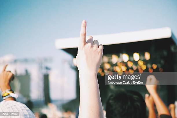 cropped image of people pointing towards sky in music concert - 芸能イベント ストックフォトと画像