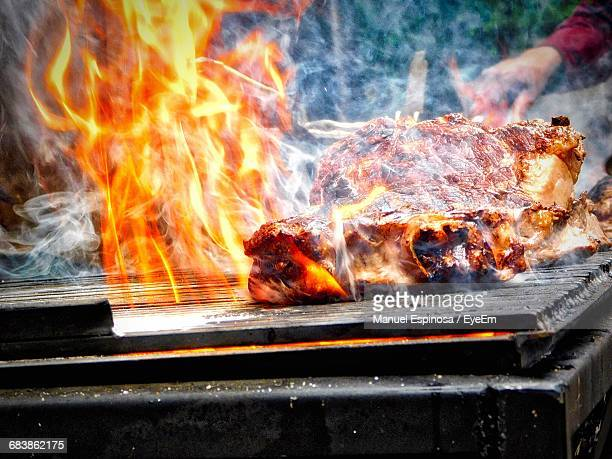 Cropped Image Of Person Grilling Chicken On Barbecue