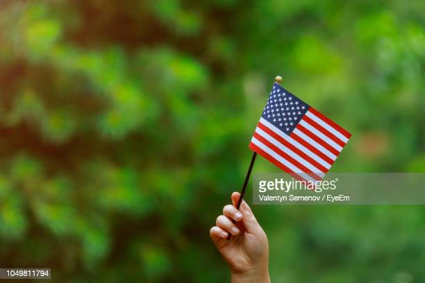 cropped image of person holding american flag - stars and stripes stock pictures, royalty-free photos & images
