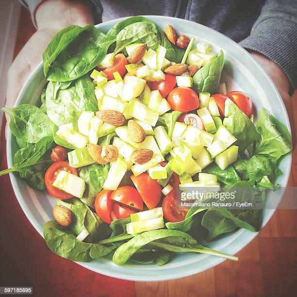 cropped image of person holding salad in plate - massimiliano ranauro stock pictures, royalty-free photos & images