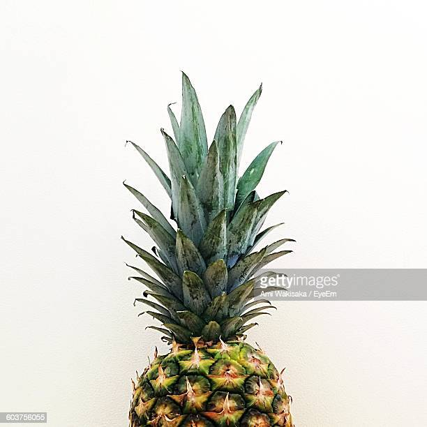 Cropped Image Of Pineapple Against White Background